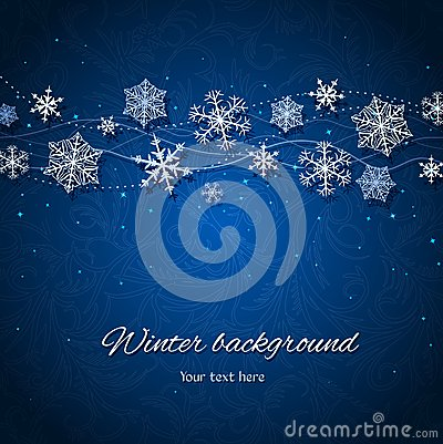 Dark blue winter vector background