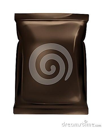 Dark brown bag foil bag isolated on white backgrou