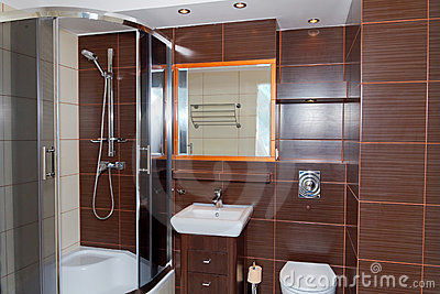 Dark brown bathroom interior