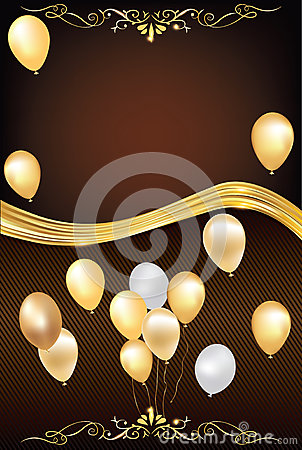 Dark Brown Celebration Background With Balloons Stock ...