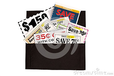 A Dark Brown Cloth Wallet Full of Coupons