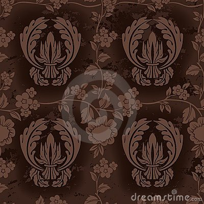 Free Dark Brown Floral Pattern Royalty Free Stock Photography - 6415797