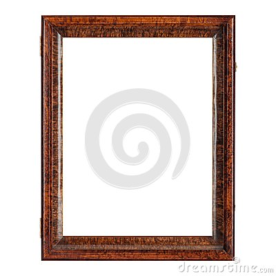 Dark brown natural color empty wooden picture frame Stock Photo