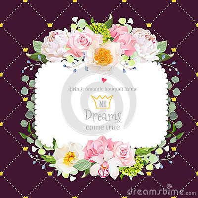 Free Dark Brown Square Floral Vector Design Frame Stock Images - 89703374