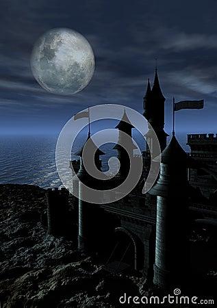 Dark Castle in Moonlight