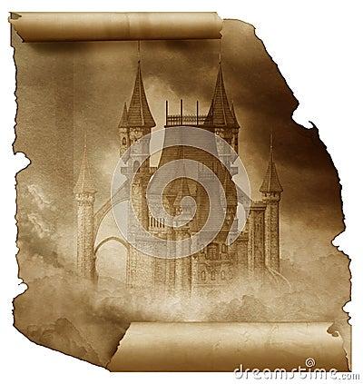 Dark Castle on a old paper scroll