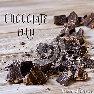 Free Dark Chocolate And Text Chocolate Day Royalty Free Stock Photo - 95510705