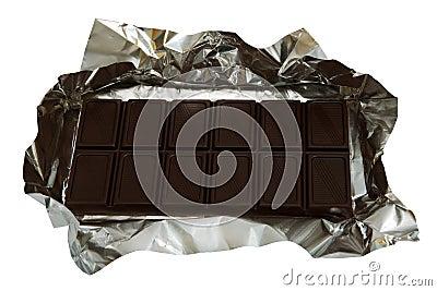 Dark chocolate in a foil