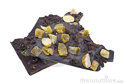 Dark chocolate with nuts and fruit