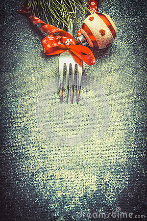 Free Dark Christmas Food Background With Fork And Red Festive Holiday Decorations, Top View Royalty Free Stock Image - 78451556