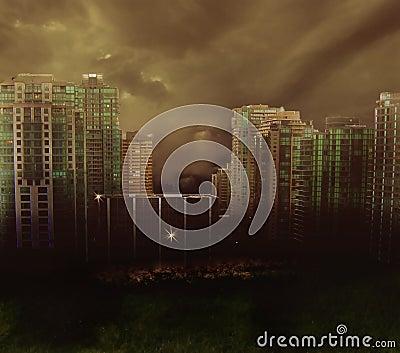 Dark city abstract