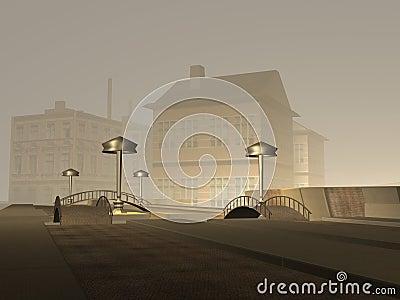 Dark city scene