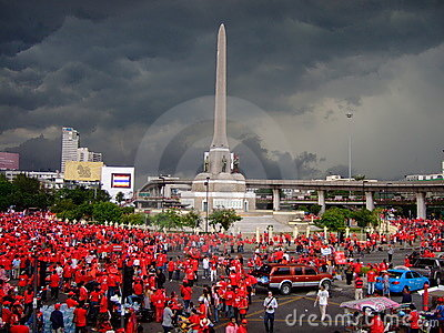 Dark clouds over red shirt protests Thailand Editorial Photo
