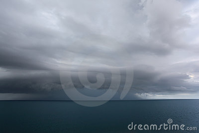 Dark clouds over sea
