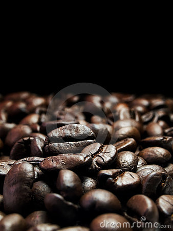 Dark coffee beans