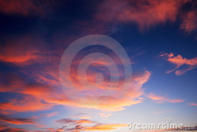 Dark colorful sunset clouds