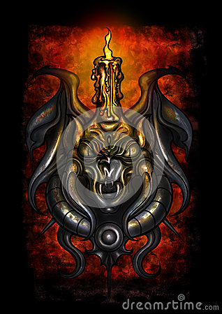 Free Dark Fantasy Demonic Candlestick Stock Photography - 74054742