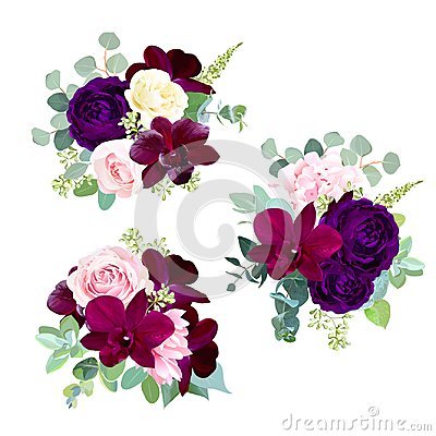 Free Dark Flowers Vector Design Seasonal Bouquets Royalty Free Stock Image - 117492526