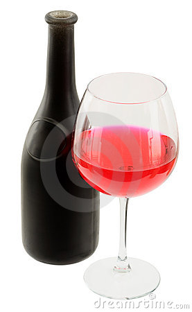 Dark glasses wine bottle and goblet