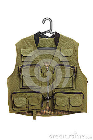 Dark green hunter vest on a hanger