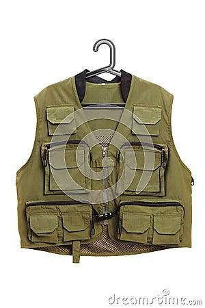 Dark green hunter vest on a hanger