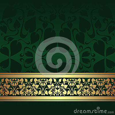 Dark green ornamental Background with golden ribbo