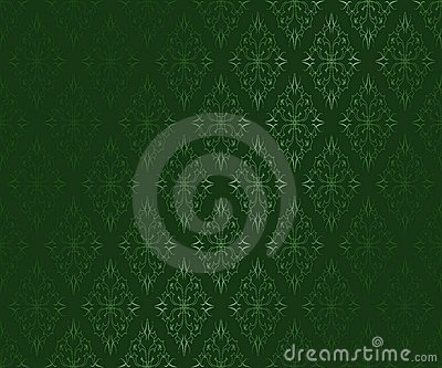 Dark green ornamental  wallpaper