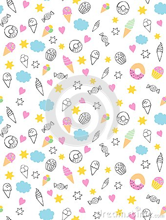 Cute Hand Drawn Sweets Vectorn Pattern. Candies, Ice Creams, Muffins, Donuts. White Background. Pink Hearts and Yellow Stars. Infa Vector Illustration