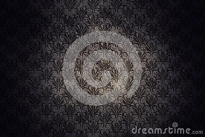 Dark Grunge Wall Background With Retro Pattern