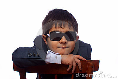 The dark-haired boy in sun glasses