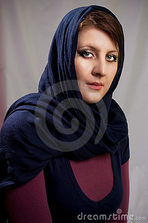 Dark haired girl in kerchief