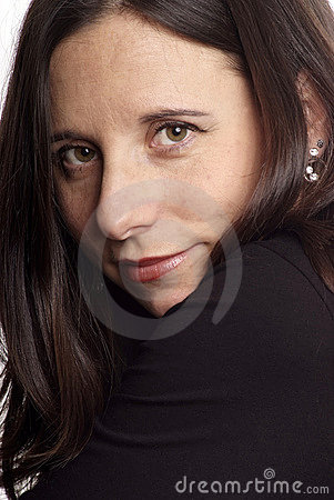 Dark-haired woman face
