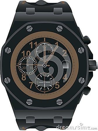Dark hand watch illustration