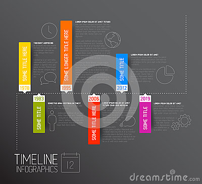 Free Dark Horizontal Infographic Timeline Report Template Stock Photos - 40558633