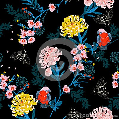 Free Dark Japanese Garden Night  Blooming Flowers, Branches, Leaves A Stock Images - 118298154