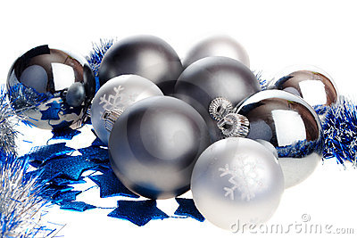 Dark and light silver Christmas balls