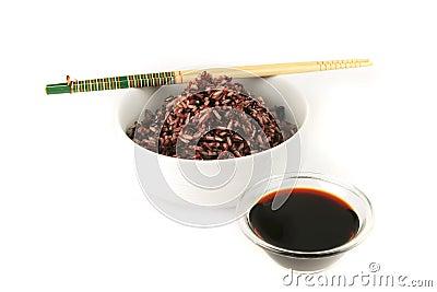 Dark mixed rice in white bowl