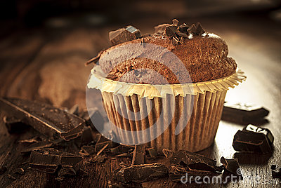 Dark muffin with chocolate