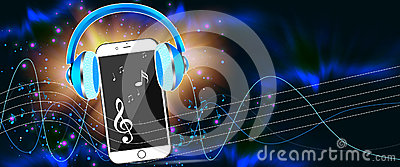 Dark music banner Stock Photo