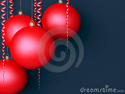 Dark New Year background with red balls