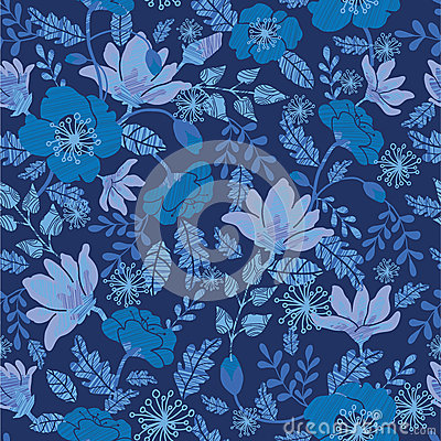 Dark night flowers seamless pattern background