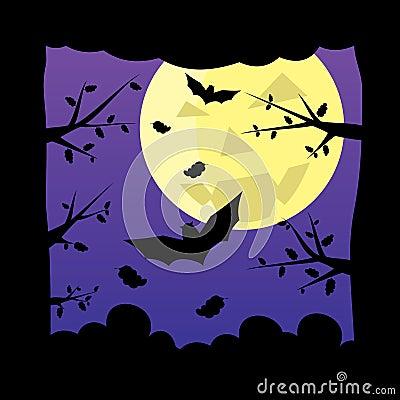 Dark night forest moon background.