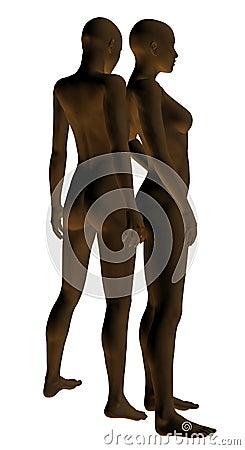 Dark nude women mannequins