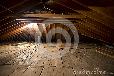 Dark Old Dirty Musty Attic Space In House Or Home Royalty