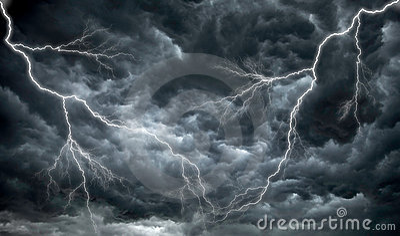 Dark, ominous rain clouds and lightning