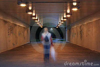 Dark pedestrian subway