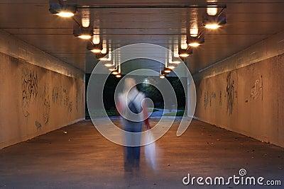 Dark pedestrian subway