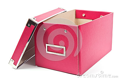 Dark pink paper box on white background