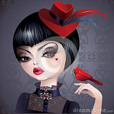 Dark princess queen of hearts in hat with bird