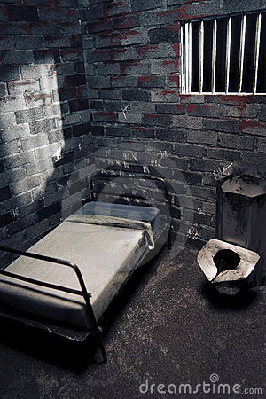 Dark prison cell at night